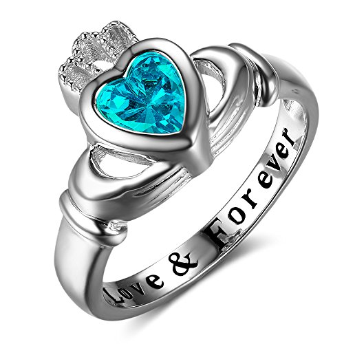 Personalized Claddagh Ring with Simulated Birthstone Love Forever Engraved Women Wedding Promise Ring (love & forever-Mar, 7)