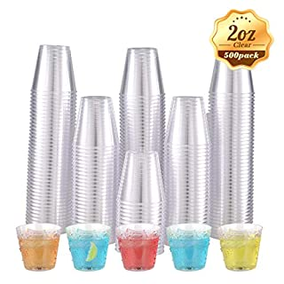 500 Plastic Shot Glasses-2oz Disposable Cups-2Ounce Plastic Shot Cups-Ideal Plastic Tumbler for Whiskey, Jello Shots, Tasting,Food Samples(Clear)