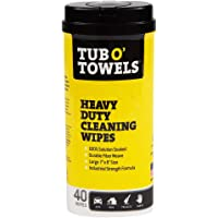 Tub O Towels Heavy-Duty 7″ x 8″ Size Multi-Surface Cleaning Wipes, 40 Count Per Canister, White, Model Number: TW40
