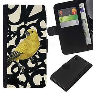 For Sony Xperia Z2 D6502 Case , Spring Bird Numbers Abstract - la tarjeta de Crédito Slots PU Funda de cuero Monedero caso cubierta de piel