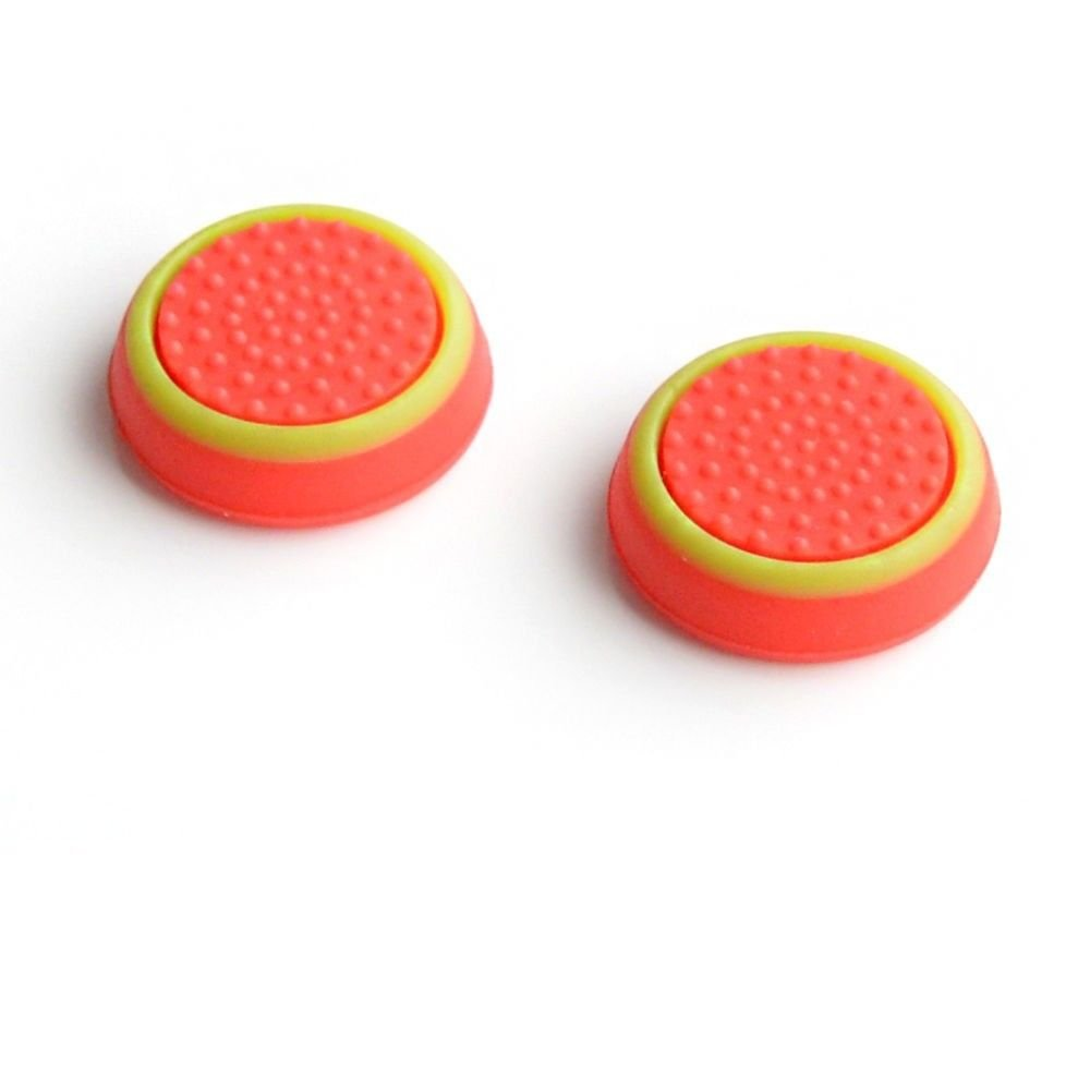 Silicone Thumb Stick Grip Cap Joystick Thumbsticks Caps Cover for PS4 Xbox One PS3 Xbox 360 PS2 Game Controllers - Red w/Green