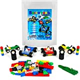 Wheels, Tires, and Axles - 135 Pieces Building Bricks Compatible Set by Brickyard Building Blocks - Includes Steering Wheels, Windshields, and Colorful Brick Building Chassis Pieces (135 pcs)