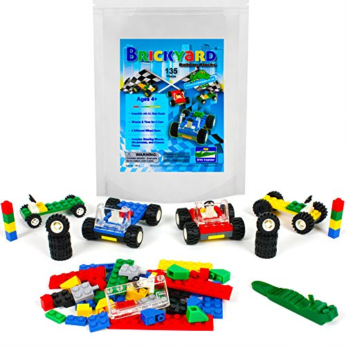 135 Pieces Wheels, Tires, and Axles - Building Bricks Compatible Set by Brickyard Building Blocks - Includes Steering Wheels, Windshields, and Colorful Brick Building Chassis Pieces (135 pcs)