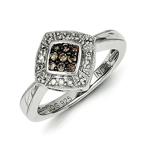 925 Sterling Silver Rhodium-plated Champagne & White Diamond & Small Diamond Shape Ring Size 8