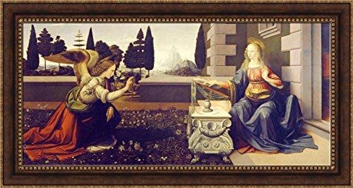 (Leonardo da Vinci Annunciation Framed Canvas Giclee Print - Finished Size (W) 54'' x (H) 28.5'' [Bronze/Gold] (V03-14Q-MD804-80))