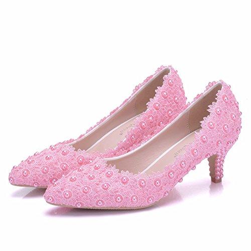 Cm Alto Bien Boda Rosa Delgadas Zapatos Con Mujeres Trabajo De Sexy Encaje Tacón Las 5 FUq8Twxx