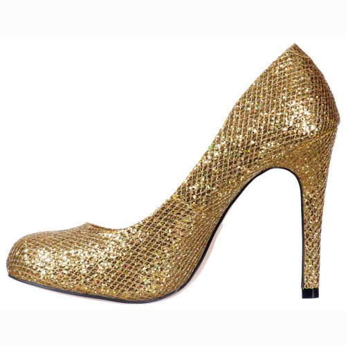 Womens Sequined Court Shoe Gold Shimmer Mesh Sparkly Ladies Stiletto Glitter PSwqXAAd