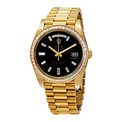 Rolex Day-Date Black Dial 18K Yellow Gold President Automatic Men's Watch 228398BKDP