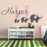 Custom made personalized name Elephant Removable Nursery Wall Decals Vinyl Wall Stickers For Baby Kids Room Decoration--9666