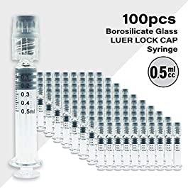Bitomic 0.5ml Borosilicate Glass Luer Lock Syringe – Reusable Pyrex for Hemp, CBD Oils, EJuices, Liquids, Glue, Veterinary, and Lab Syringes – 100 Pieces