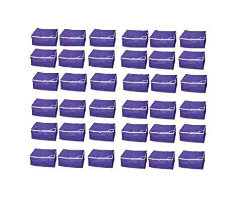Fashion Bizz Non Woven Purple Saree Cover Set of 36 Pcs/Wardrobe Organiser/Regular Clothes Bag