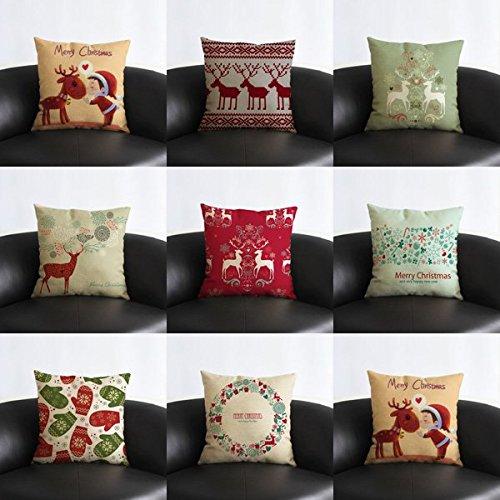 Vintage Christmas Series Deer Throw Pillow Case Linen Cotton Square Sofa Cushion Cover Buckdirect Worldwide Ltd.