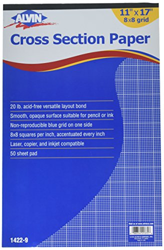 Alvin 1422-9 Cross Section Paper 8 x 8 Grid 50-Sheet Pad, 11 inches x 17 inches