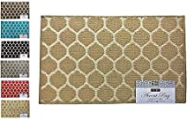 "Fashion Ogee Pattern Rug, Non-Skid Home, Kitchen, Floor Mat, Comfortable Standing and Entrance Rug, 17"" x 28"" (Tan)"