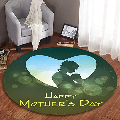 Mother's Day Series - Printed Round Flannel Kitchen Anti-Slip Mats Children's Room Carpet Beautifully Decorated Rug,Thanks for Mother by cnnIUHA (Image #1)