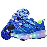 Ufatansy USB Charging Shoes Roller Shoes Girls Roller Skate Shoes Boys Kids LED Light up Wheel Shoes Roller Sneakers Shoes Wheels for Kids(3 M US = CN34, Doublewheels, Light Blue)