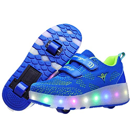 Ufatansy USB Charging Shoes Roller Shoes Girls Roller Skate Shoes Boys Kids LED Light up Wheel Shoes Roller Sneakers Shoes Wheels for Kids(13 M US = CN31, Doublewheels, Light Blue)]()