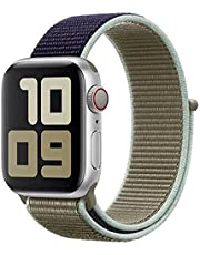 For Apple Watch SE Size 40mm Comfort Woven Band from Smart Stuff - Double Color Blue and Khaki