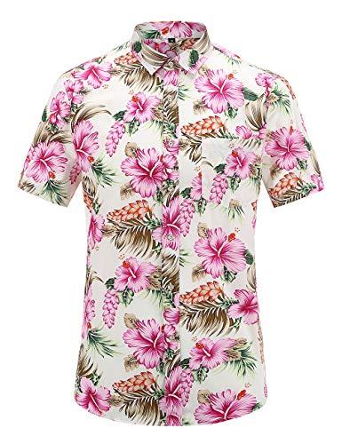 (JEETOO Mens Casual Flower Print Hibiscus Short Sleeve Hawaiian Aloha Shirt (Pinkflower, XL) )