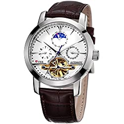 TSS Men's Automatic Skeleton Moonphase Watch Leather Band T8030PC1