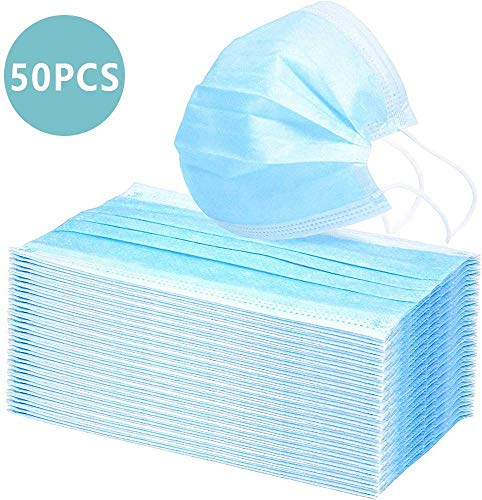 50 Pcs Disposable Face Masks for Children Adults-Ideal Medical Mouth Masks, can be Used in Hospitals, pet Shops and Any Other Environment That Requires Respiratory Protection (50) Blue