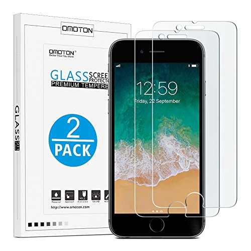 51jLc3DfMGL OMOTON 9H Hardness HD Tempered Glass Screen Protector for Apple iPhone 8 Plus / iPhone 7 Plus, 2 Pack