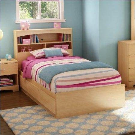 Maple Storage Headboard - South Shore Shiloh Kids Twin Bookcase Storage Bed Set in Natural Maple Finish