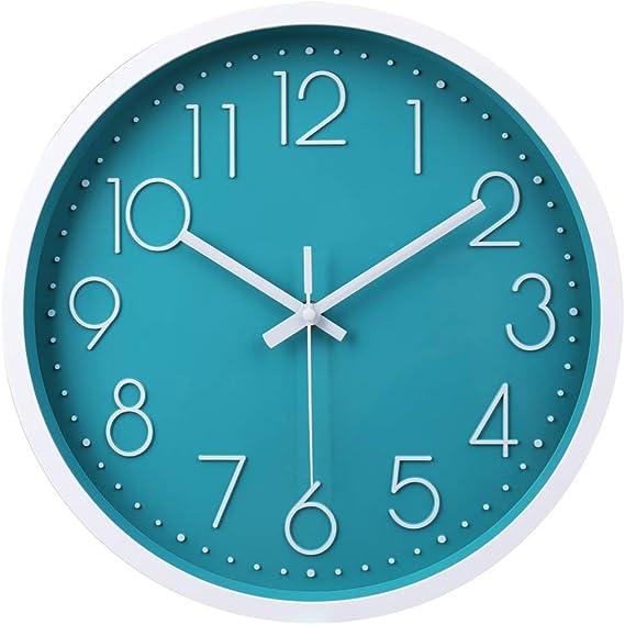 Reloj de Pared Moderno,Grandes Decorativos Silencioso Interior Reloj de Cuarzo de Cuarzo Redondo No-Ticking para Sala de Estar (Azúl,12 Pulgadas, Ø: ...