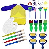 FEOOWV 18 PCS Graffiti Painting Suit Paint Sponges for Kids, Fun Paint Brushes for Toddlers Coming Brush Set Long Sleeve Waterproof Apron with 3 Roomy Pockets (A)