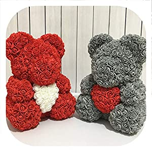 Memoirs- 2019 Bear Shape Artificial Flowers for Wedding Party Lovers Gift Rose Bear PE Flower for Home Decoration 80