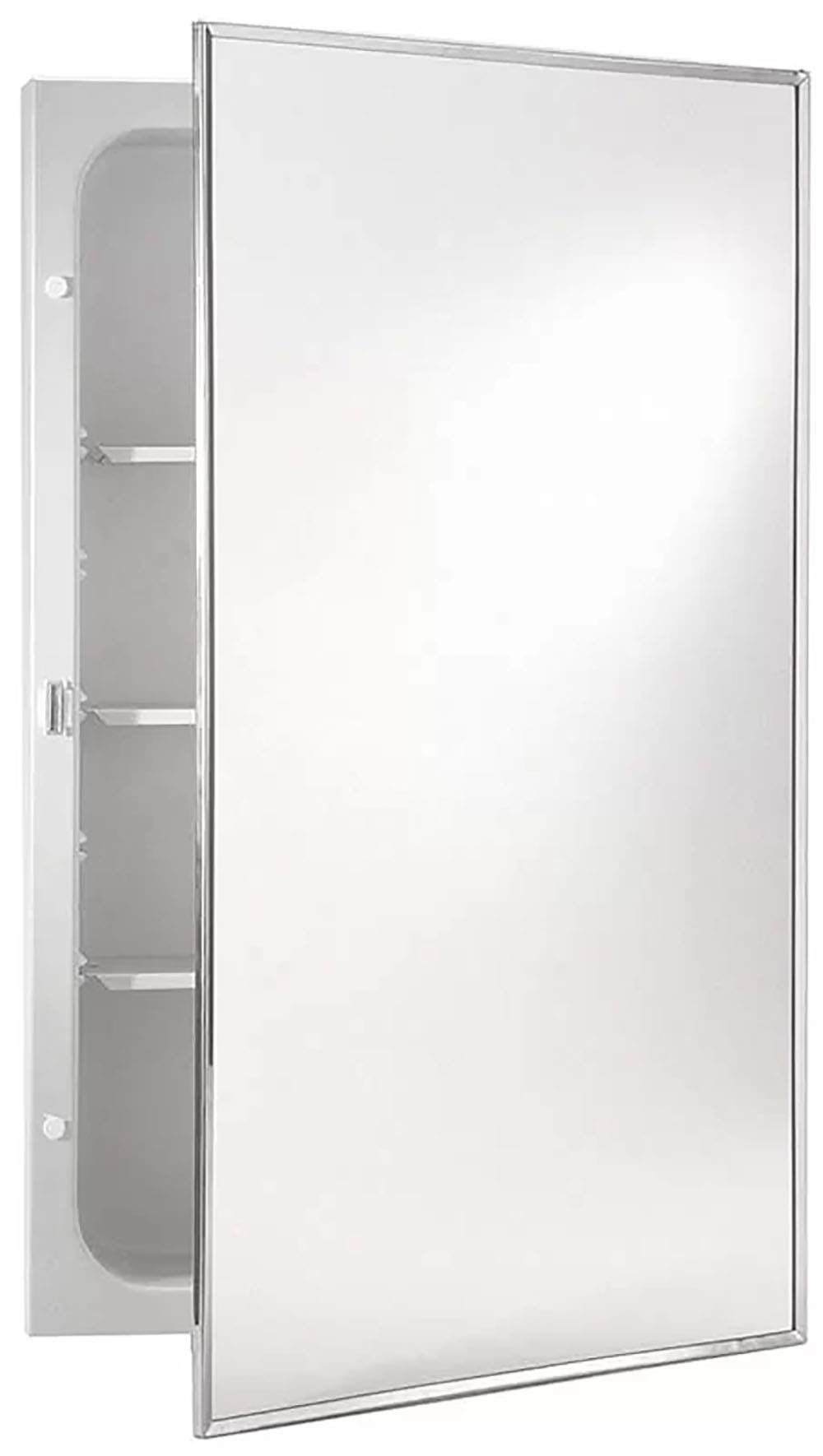 Jensen 407ADJ Basic Styleline Recessed Molded Medicine Cabinet - Mounting type: recessed with wall opening dimensions measuring  14-Inch by 18-Inch by 2-1/2-Inch Overall size: 16-Inch by 20-Inch Easy to clean, one-piece, injection-molded polystyrene construction - shelves-cabinets, bathroom-fixtures-hardware, bathroom - 51jLd2zTBeL -