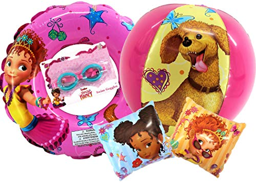 Disney Junior Fancy Nancy Pool Set for Girls | Includes Officially Licensed Fancy Nancy Beach Ball, 2 Arm Floats, 1 Swim Ring and Swim Goggles | Summer Time Beach -