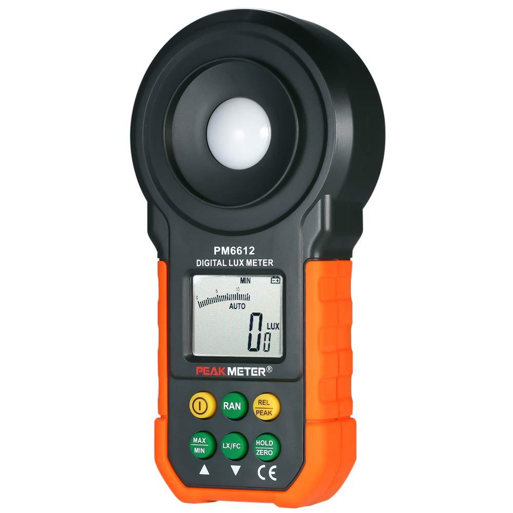 Baugger Light Meter, High Accuracy Digital Illuminance Meter Handheld Lux Luxmeter Luminometer Photometer Light Meter 0-200000 Lux with Auto Manual Range Max/Min/Data Hold Mode