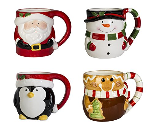 Set of 4 Snowman, Gingerbread Man, Santa and Penguin 12 ounce Ceramic Holiday Coffee Mugs (Latte Mug Snowman)