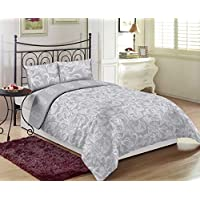 Gray King Size 260 x 280 cm Regency Bedding Set - 3 Pieces