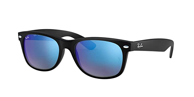 ffaef9a46 Ray-Ban New Wayfarer Sunglasses (RB2132) Black Matte/Blue Plastic,Nylon