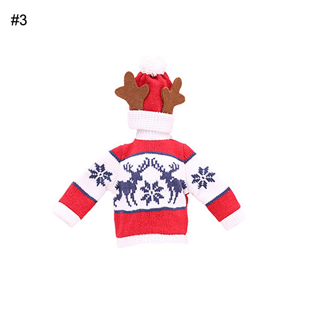 Alamana Cute Christmas Tree Snowman Snowflake Wine Bottle Sweater Cover Cap Celebrate Gift Party Table Decor Reindeer