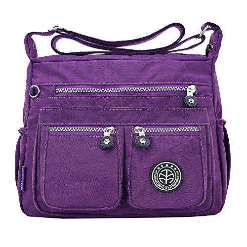 Women Fashion Crossbody Bags, Muium Solid Color Water Repellent Zipper Shoulder Bag Fashion Nylon Messenger Bags Purple