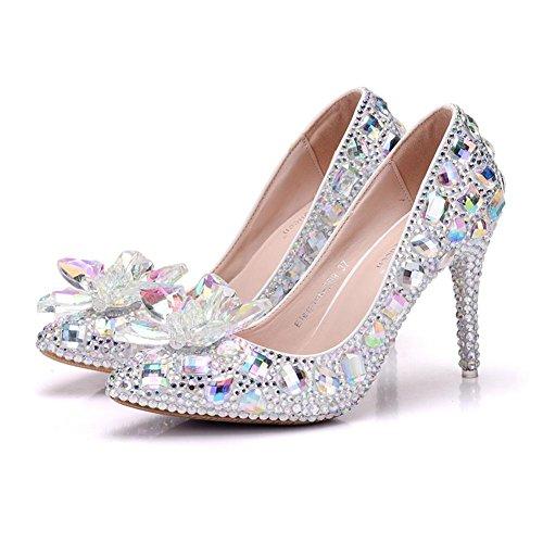 Cristal Pompes 41 Talon Chaussures Chaussures Fermé Pied NVXIE WHITE Haute Soir Dames Femmes Mariage Doigt de 35 De Mariée Passerelle EUR41UK758 Taille Tribunal Strass Fw66q10Y