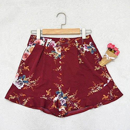 Stampato Vita Alta Floreale Adelina Shorts Baggy Pantaloni Fashionable Casuale Corti Spiaggia Cintura Eleganti Estivi Rosso Donna Completi Pantaloncini Con 0xqw4XpI4Y
