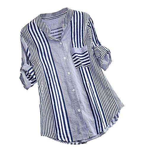 Gemira Striped Blouses for Women Roll-up Sleeve Classic Colorblock Work Shirts Button Down Pleated Loose T Shirts Tunic Tops