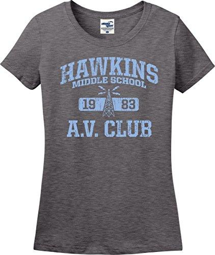 Club Ladies Tee (Utopia Sport Stranger Things Inspired Hawkins A.V. Club Ladies T-Shirt (S-3X) (Ladies Small, Graphite Heater))