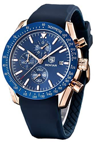 Silicone Quartz Wrist Watch - BENYAR Mens Watch Quartz Wrist Watches for Men Fashion Waterproof Casual Business Sports Silicone Chronograph Men Watch