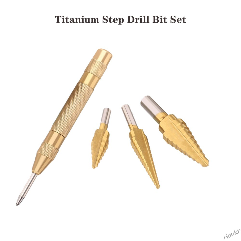 Houkr Titanium Step Drill Bit Set With Automatic Center Punch 4PCS 28 Sizes of Multiple Hole Stepped Up Bits High Speed Steel