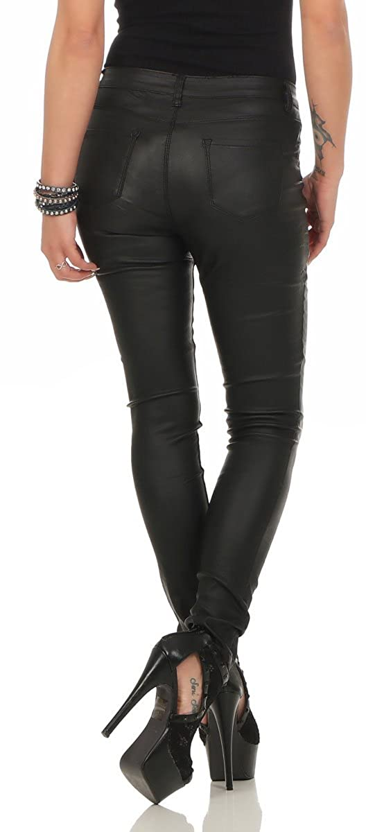 10114 Fashion4Young Damen Röhrenhose Treggings Slimline Leder-Look  Lederimitat Damenhose Wetlook  Amazon.de  Bekleidung 77c83cda8c