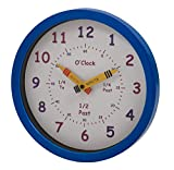 Unity 25 cm Henley Children's Learn The Time Wall Clock, Mirror Blue, l x w