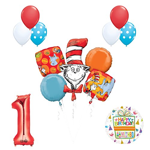 13 pc Dr Seuss Cat in the Hat 1st Birthday Party Balloon Supplies and Decorations]()