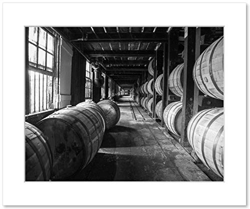 Whiskey Barrels Wall Art, Wild Turkey Bourbon Distillery Rickhouse Decor, Whiskey Gift, 8x10 Matted Print