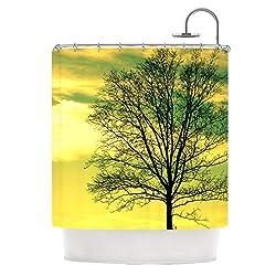 Kess InHouse Robin Dickinson Tree Sky Green Shower Curtain