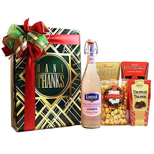 Thank You Gourmet Food and Snacks Gift Basket Bundle with Deluxe Lorina Sparkling Soda, Comfort Collection Mixed Nuts, Scottish Style Shortbread Cookies, Truffettes de France Sea Salt Caramel Truffles